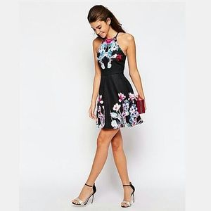 Ginger Fizz High Neck Dress With Placement Print